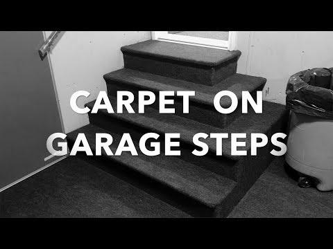 Installing Indoor Outdoor Carpet on Garage Steps.