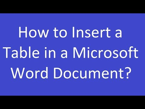 How to Insert a Table in a Microsoft Word Document 2016?
