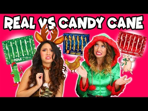 Real Food vs Candy Cane Challenge. Chicken Flavor Candy Canes?. Totally TV
