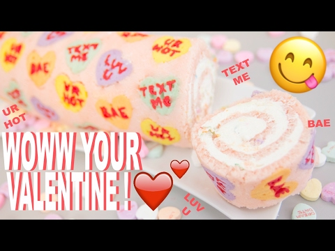 DIY Valentine's Day Conversation Heart Cake Roll! How to make the perfect treat for your Valentine!