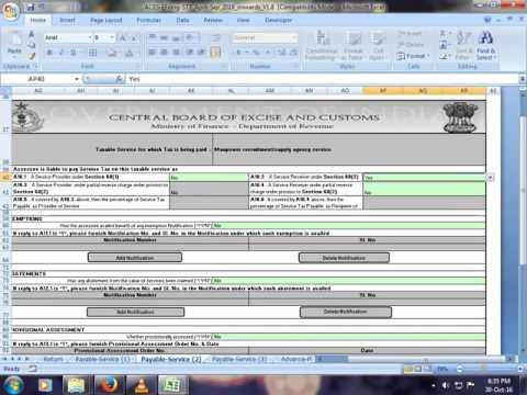 e-filing of Service Tax return