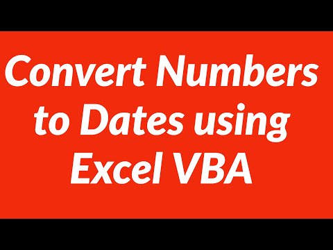 Convert Numbers to Dates using Excel VBA
