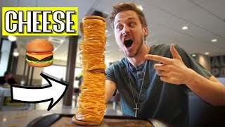We Ordered a 200 Slice CHEESE Burger!