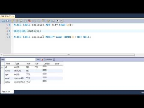 SQL Tutorial - 55: The ALTER TABLE Command