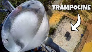 GIANT ICE BLOCK Vs. TRAMPOLINE from 45m!