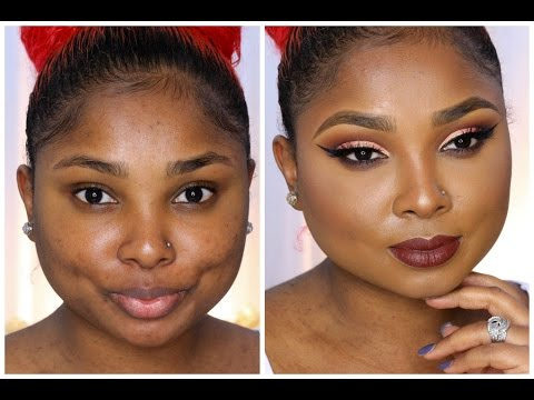 Peach Cut Crease /Brown Lips Full Face Makeup Tutorial - Queenii Rozenblad