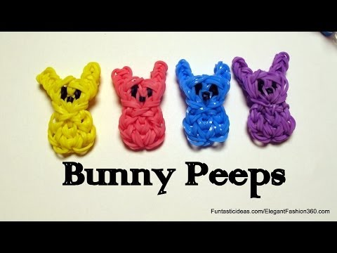 Easter Bunny Peeps Candy charm - How to Rainbow Loom design - Easter Series