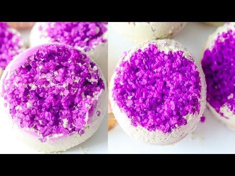 Amethyst Geode Bath Bomb DIY! Making Amethyst Geode Crystals Bathbomb