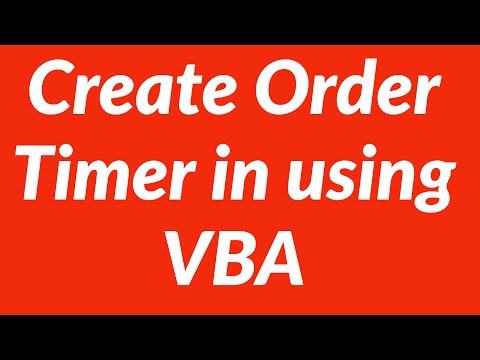 Create Order Timer in MS Excel using VBA
