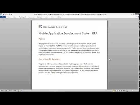 Mobile Application Development System RFP