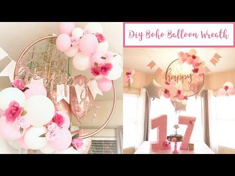 DIY boho balloon hula hoop wreath