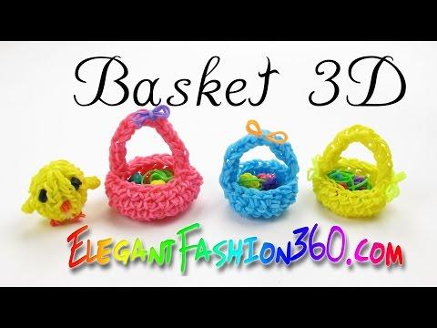 Rainbow Loom Basket 3D Easter - How to Loom Bands Tutorial