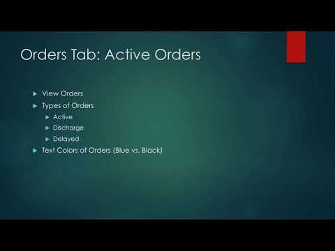 Intro to CPRS For Nursing Students 11: Orders - Active Orders