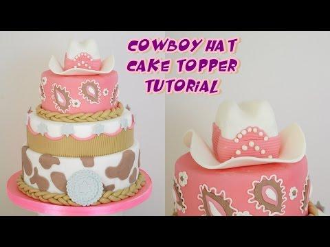 HAT COWBOY CAKE TOPPER FONDANT TUTORIAL - CAPPELLO cowboy in pasta di zuchero per torta