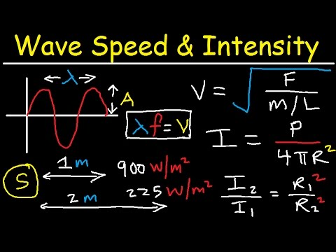 Wave Speed on a String, Tension, Intensity, Power, Amplitude, Frequency - Inverse Square Law Physics