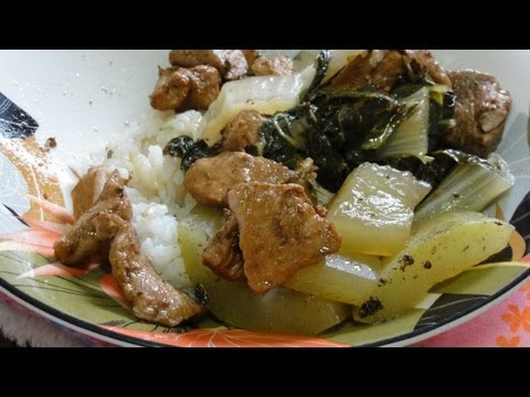 Two Meals with Granny! Pork and Squash and Pork with White Stem Cabbage (pak choi)