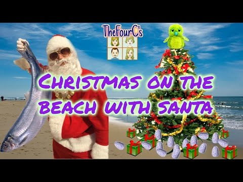 CHRISTMAS ON THE BEACH WITH SANTA...and a DEAD FISH!!   ....Hatchimal PRANK TOO!
