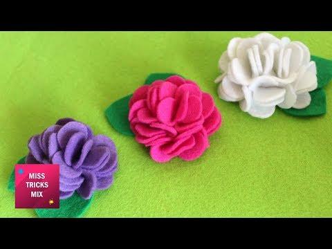 Felt Flower Tutorial #2  - DIY : How to make easy felt flower / Spring Crafts - Kids Crafts .