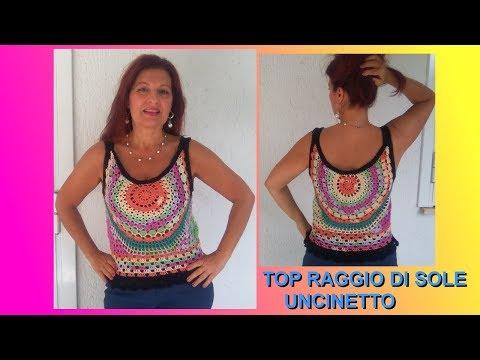 TOP UNCINETTO RAGGIO DI SOLE TUTORIAL tutte le taglie FACILE E VELOCE