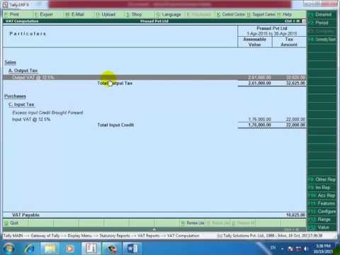 Tally.erp 9 in hindi vat adjustment entry lecture 18