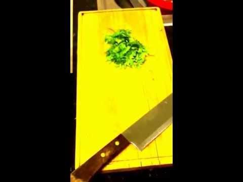 Chopping up fresh Cilantro