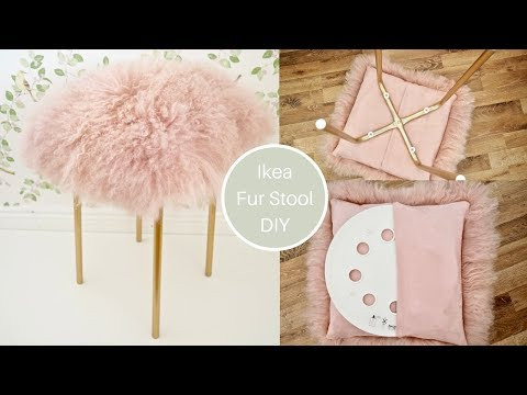 Ikea Marius Hack, pink mongolian Fur stool DIY with gold legs