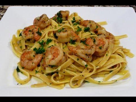Fettucine with Shrimp in a Garlic-Lemon Sauce Recipe