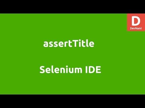 Selenium IDE assertTitle