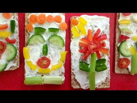 Veggie Art - Make Pictures on Crackers; a Healthy and Fun Craft for Kids