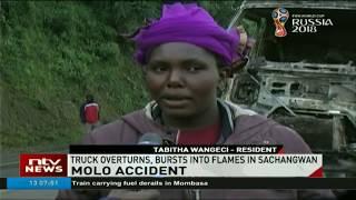 Truck overturns, bursts into flames at Sachangwan