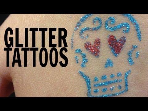 DIY Sugar Skull Glitter Tattoos || Dia de los Muertos