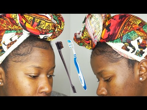 How I Lay Down My Natural Hair Baby Hairs + Toothbrush vs. Dual Ended Edge Brush!!!|Mona B.