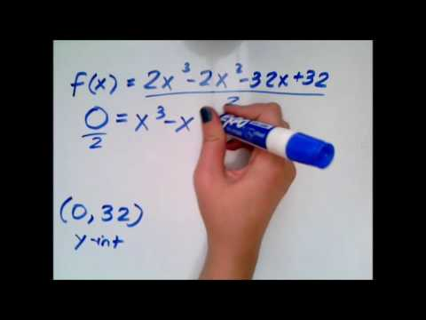 Finding x and y intercepts given a polynomial function