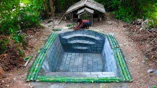 Build House By Bamboo And Swimming Pool front of House. Full Video