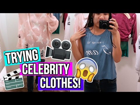 TRYING ON CELEBRITY CLOTHING FROM MOVIES AND TV SHOWS!!