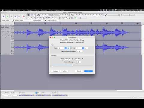 Change tempo and pitch of an .MP3 file using Audacity