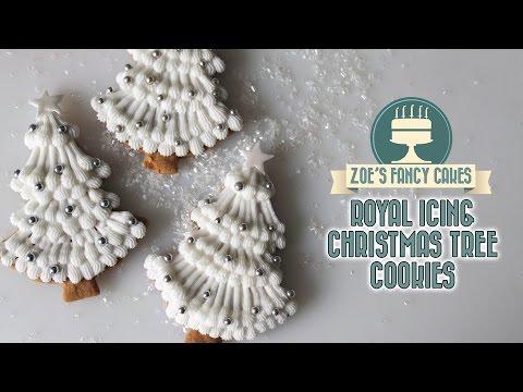 Royal icing christmas tree cookies