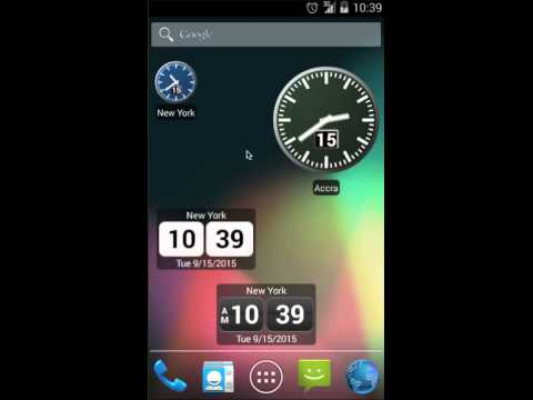 Working with World Clock Widget 2015 on Android 4.4 KitKat