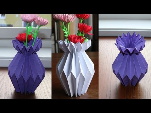 How to make a origami flower pot how to make a paper flower vase diy simple paper craft mightylinksfo