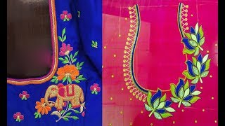 Simple Embroidery Work Blouse Designs For Pattu Sarees Maggam Work