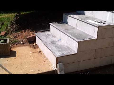 How to Tile An Outdoor Concrete Stairs - Part 3 -  Tile Last Stair -  Step By Step