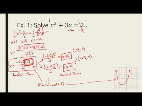 Algebra 2 - 4.8 - Quadratic Formula and Discriminant