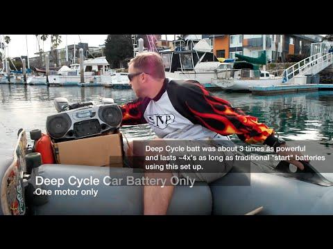 Deep cycle vs. start battery tests on Minn Kota Outboard Electric Motor