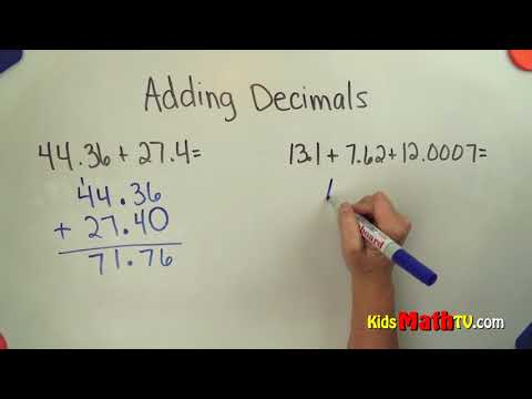 Addition of decimals video tutorial for 5th, 6th, 7th grades