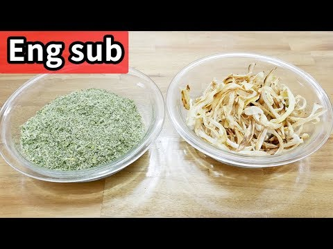 Dried green onion and dried onion ( Daepagaru yangpa maligi: 대파가루와 양파 말리기 )
