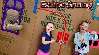 Escape the Babysitter Granny in Real Life Escape Room! We Lock Granny in Box Fort!!!