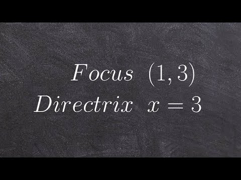 Given the focus and directrix write the equation of a parabola