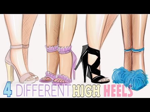 HOW TO DRAW - 4 DIFFERENT HIGH HEELS!!! 👠
