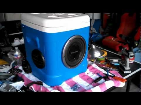 Pioneer Igloo ice chest Subwoofer Boom Box Build!