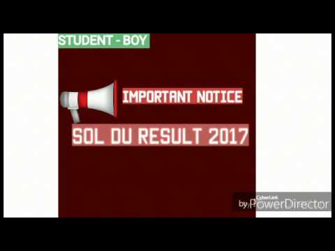 SOL D.U 2017 RESULT EXPECTED DATE